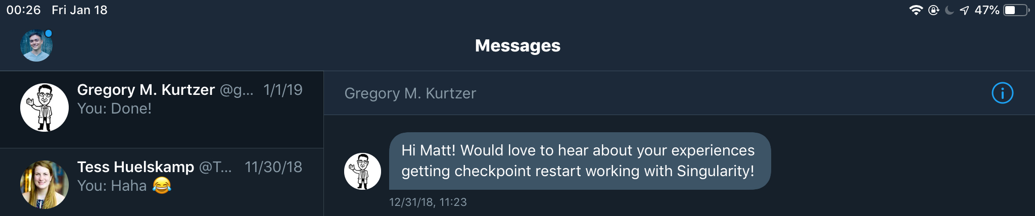 A direct message from Gregory Kurtzer.